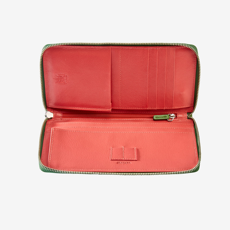 tusk-166-womens-zip-travel-portfolio-moss-and-geranium-open