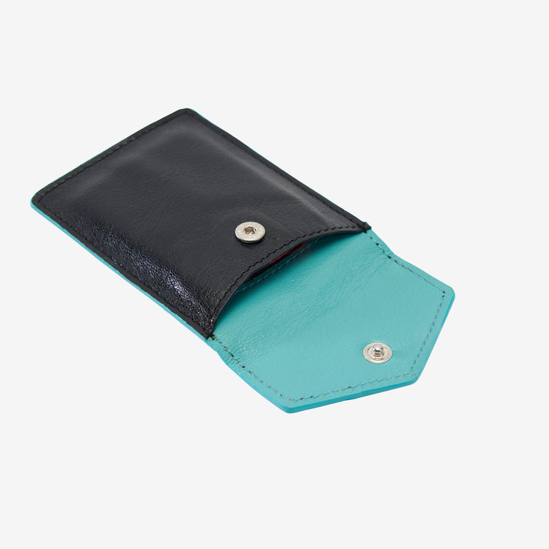 tusk-2002-siam-leather-mini-snap-card-case-black-and-french-blue-open