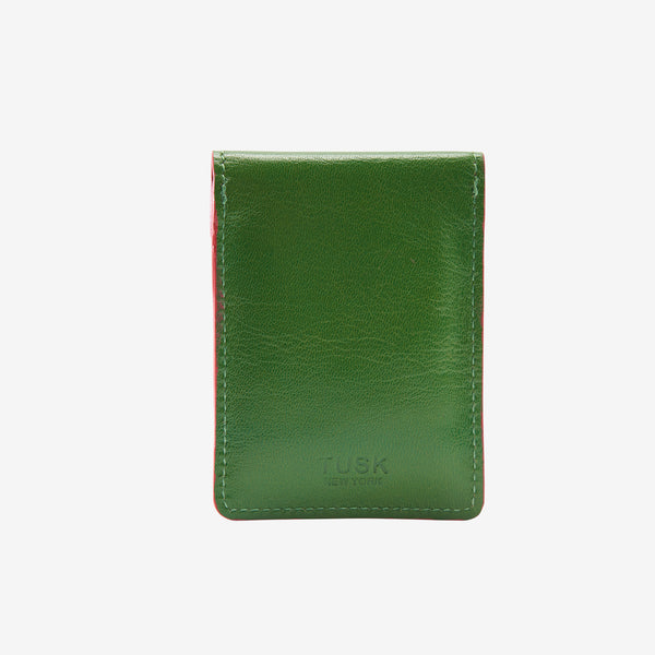 tusk-2002-siam-leather-mini-snap-card-case-moss-and-geranium-back