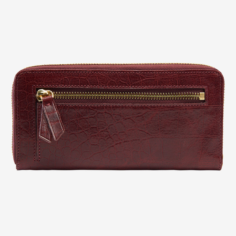 tusk-301-womens-lisbon-single-zip-printed- croco-leather-wallet-oxblood-back