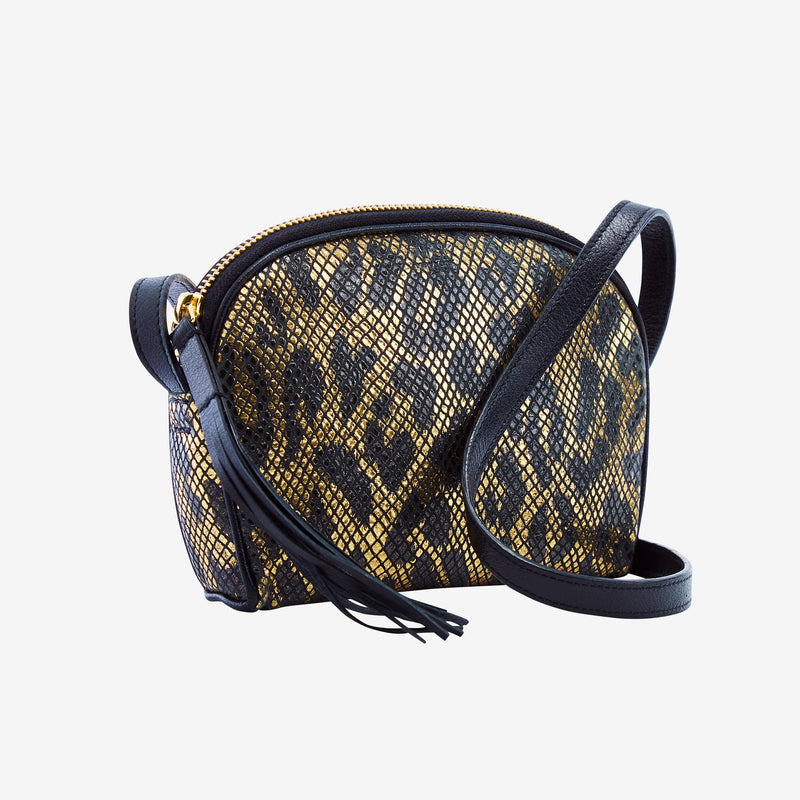 tusk-573-womens-snake-print-leather-clam-shell-cross-body-shoulder-bag-black-and-gold-side