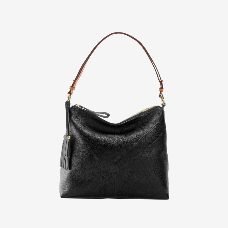 tusk-9640-ascot-pebblegrain-leather-small-hobo-bag-black-front