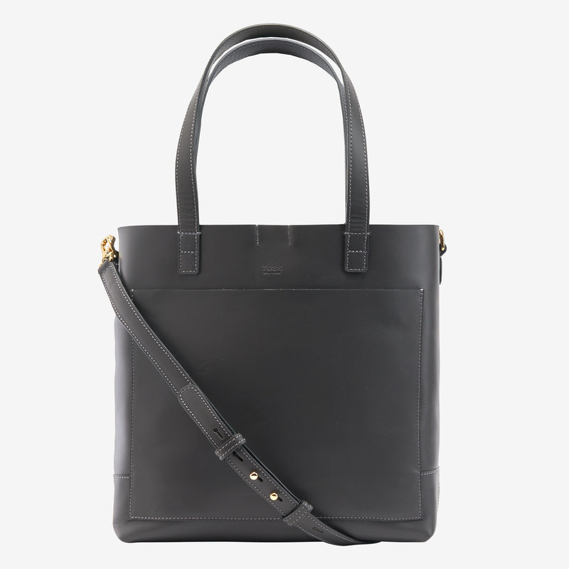 tusk-9904-amrita-leather-open-tote-charcoal-with-strap-front