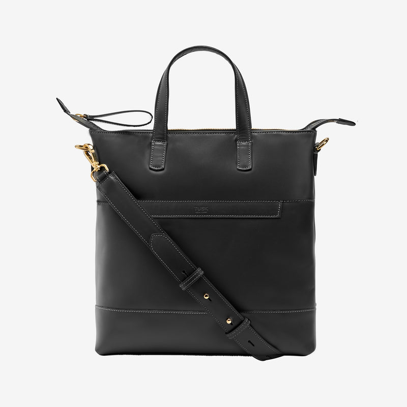 tusk-9905-lorna medium-leather-tote-charcoal-front-strap