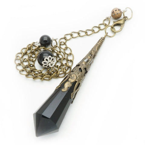 Black Obsidian Crystal Point Pendant/Pendulum