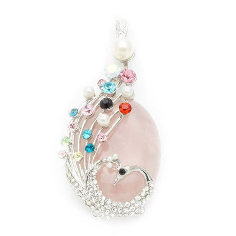 Rose Quartz Peacock Pendant