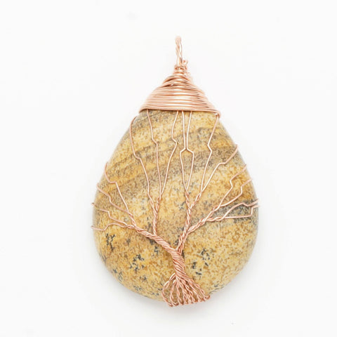 Picture Jasper Gold Tree Of Life Wrapped Pendant