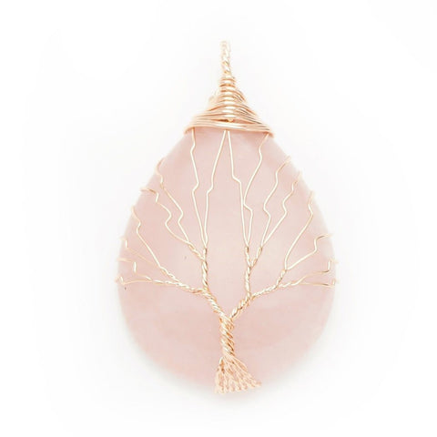 Rose Quartz Gold Tree Of Life Wrapped Pendant