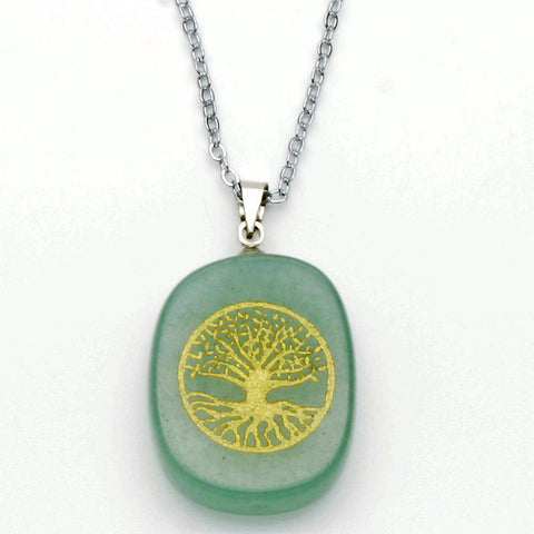 Green Aventurine Gold Tree Of Life Pendant