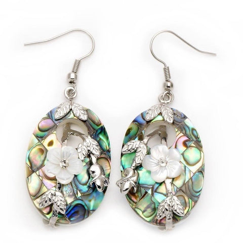 Abalone Shell Flower Earrings