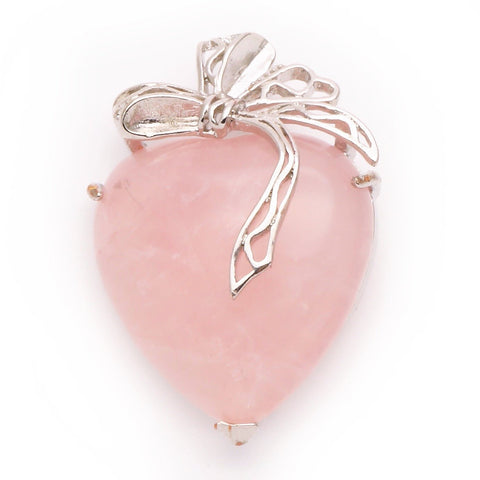 Rose Quartz Ribbon Heart Pendant