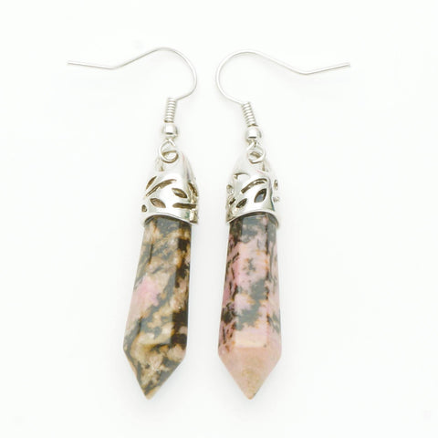 Rhodonite Point Earrings