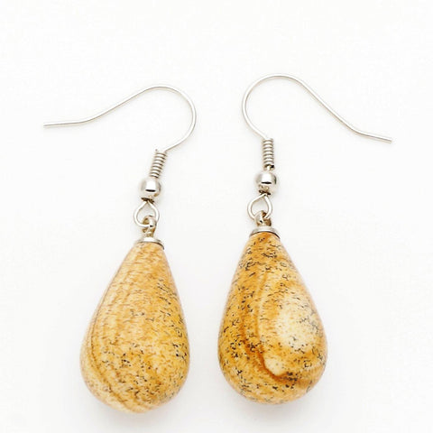 Picture Jasper Teardrop Earrings