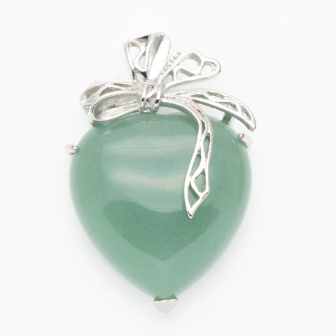 Green Aventurine Ribbon Heart Pendant