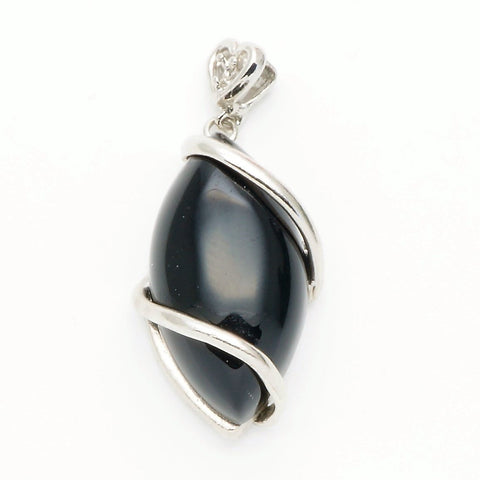 Black Agate Horse Eye Pendant