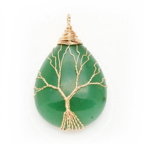 Green Aventurine Gold Tree Of Life Wrapped Pendant