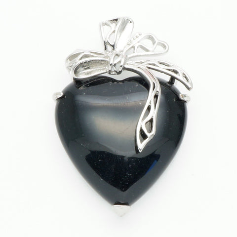 Black Onyx Ribbon Heart Pendant