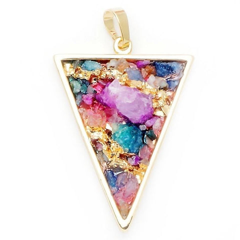 Quartz Multi-Color Triangle Pendant