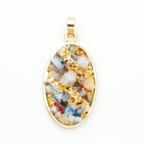 Quartz Multi-Color Oval Pendant