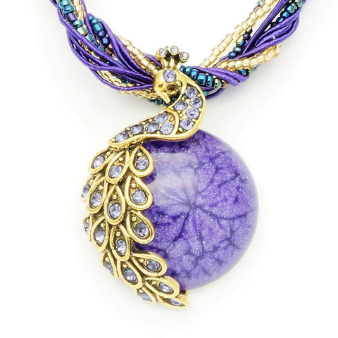 Vintage Purple Stone Peacock Necklace