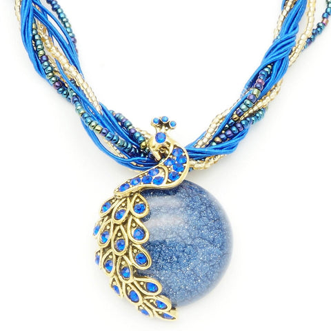 Vintage Blue Stone Peacock Necklace