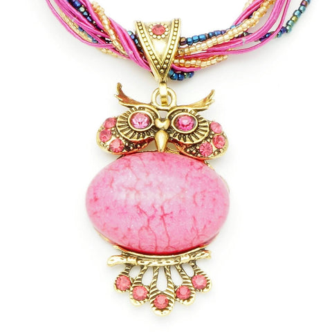 Vintage Pink Stone Owl Necklace