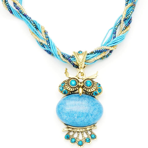 Vintage Sky Blue Stone Owl Necklace