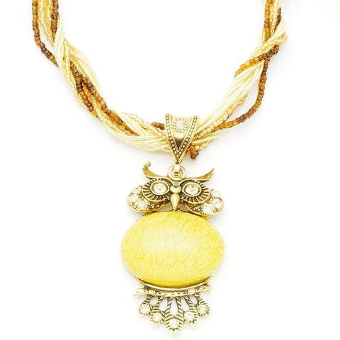 Vintage Yellow Stone Owl Necklace