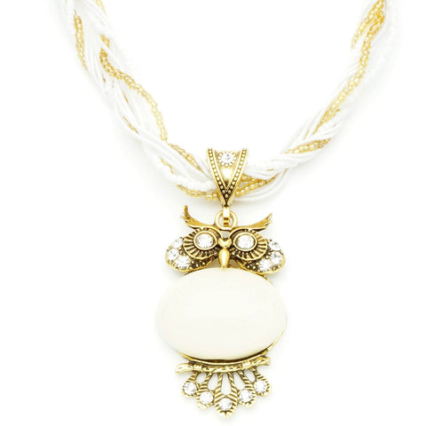 Vintage White Stone Owl Necklace
