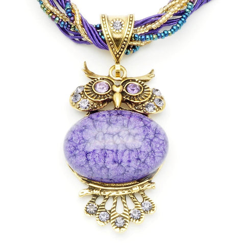 Vintage Purple Stone Owl Necklace
