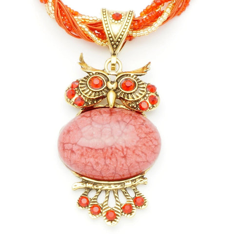 Vintage Red Stone Owl Necklace