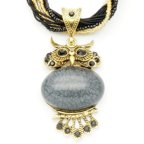 Vintage Black Stone Owl Necklace