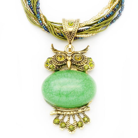 Vintage Green Stone Owl Necklace