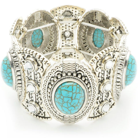 Turquoise Thick Silver Bracelet
