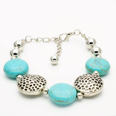 Turquoise Bead Silver Bracelet