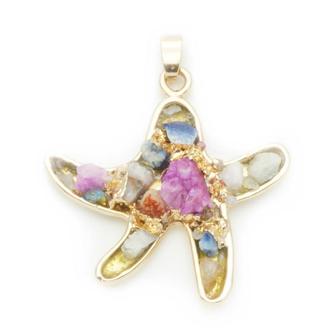 Quartz Multi-Color Starfish Pendant