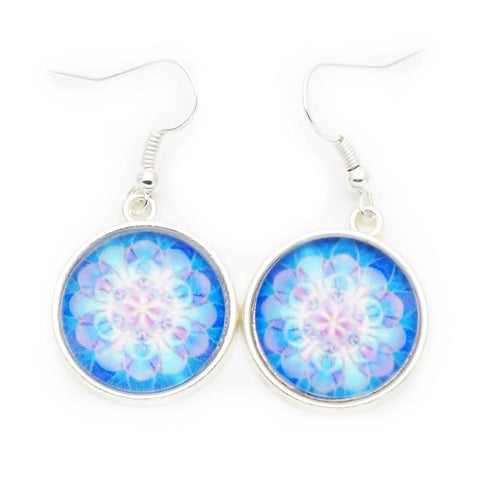 Silver Mandala Dangle Earrings