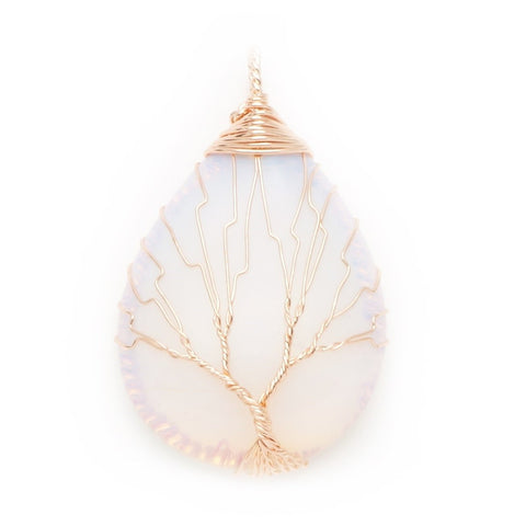 Opalite Gold Tree Of Life Wrapped Pendant
