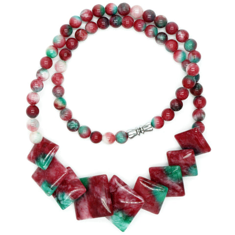 Red & Green Jade Tiles Necklace