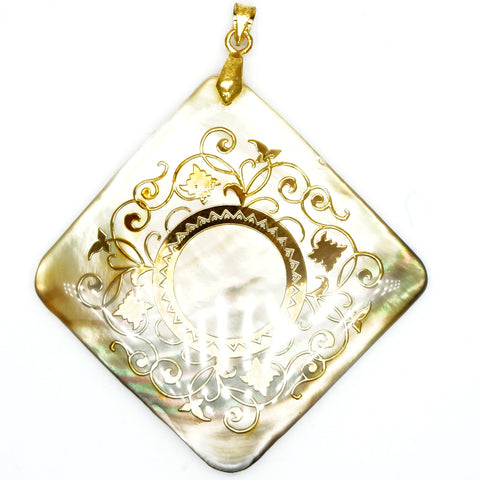 Gold Decorated Abalone Tile Pendant