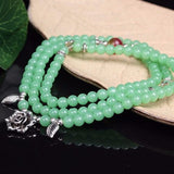 Green Chalcedony Multilayer Flower Charm Bead Bracelet/Necklace