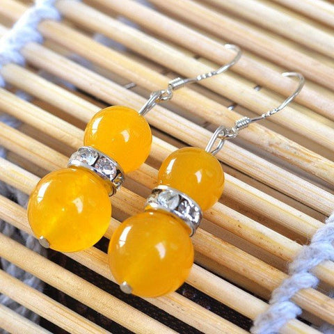 Yellow Chalcedony Bead Earrings