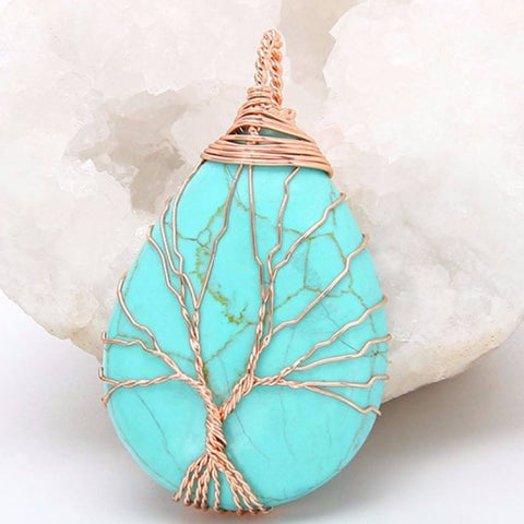 Turquoise Gold Tree Of Life Wrapped Pendant