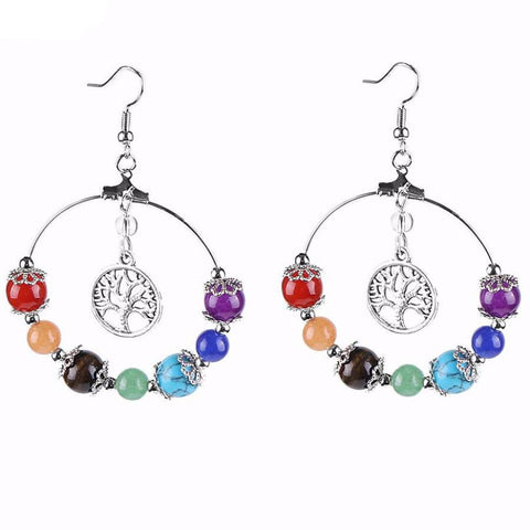 7 Chakra & Tree Of Life Earrings