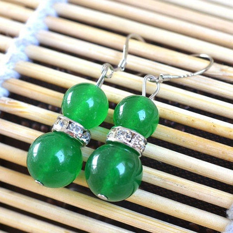 Green Chalcedony Bead Earrings