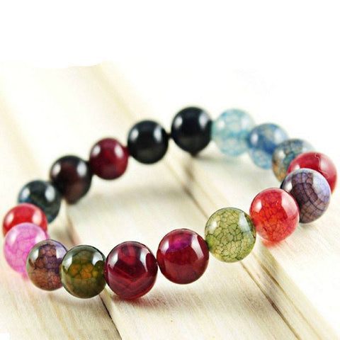 Crackled Agate Bead Bracelet