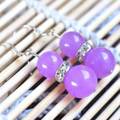 Purple Chalcedony Bead Earrings