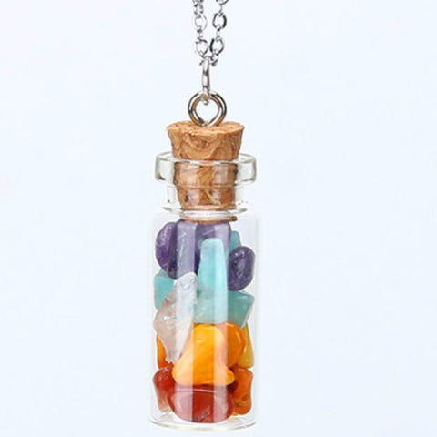 Multi Color Chipped Gemstone Bottle
