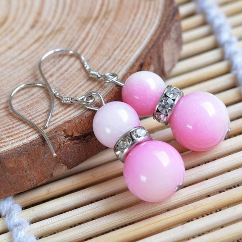 Pink Chalcedony Bead Earrings