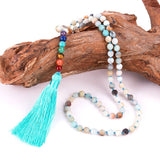 7 Chakra Amazonite Bead Tassel Necklace/Bracelet